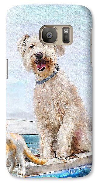 Galaxy Case featuring the digital art Sea Dog And Cat by Jane Schnetlage