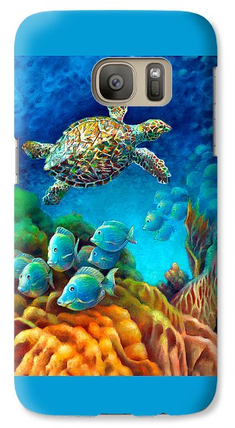 Galaxy Case featuring the painting Sea Escape IIi - Gemstone Hawksbill Turtle by Nancy Tilles