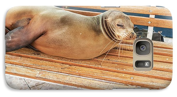 Galaxy Case featuring the photograph Sea Lion On A Bench, Galapagos Islands by Marek Poplawski