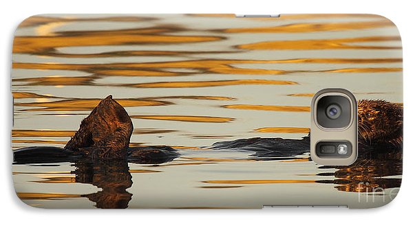 Galaxy Case featuring the photograph Sea Otter Laying Low In The Water by Max Allen