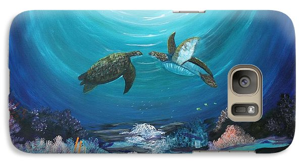 Galaxy Case featuring the painting Sea Turtles Greeting by Myrna Walsh