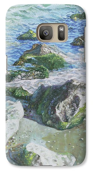 Galaxy Case featuring the painting Sea Water With Rocks On Shore by Martin Davey