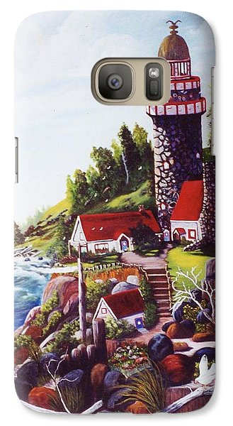 Galaxy Case featuring the painting Seagull Cove And Lighthouse by Myrna Walsh