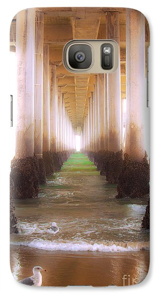 Galaxy Case featuring the photograph Seagull Under The Pier by Jerry Cowart