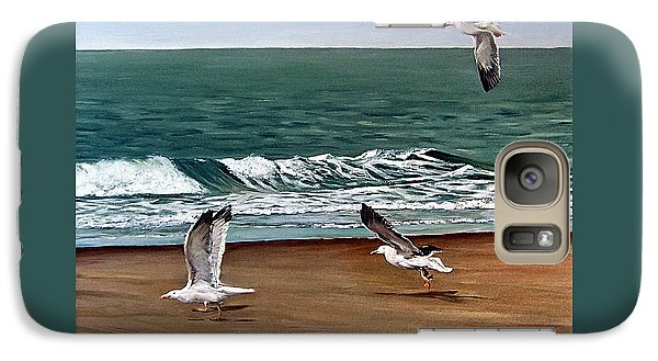 Galaxy Case featuring the painting Seagulls 2 by Natalia Tejera
