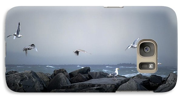 Galaxy Case featuring the photograph Seagulls In Flight by Larry Keahey