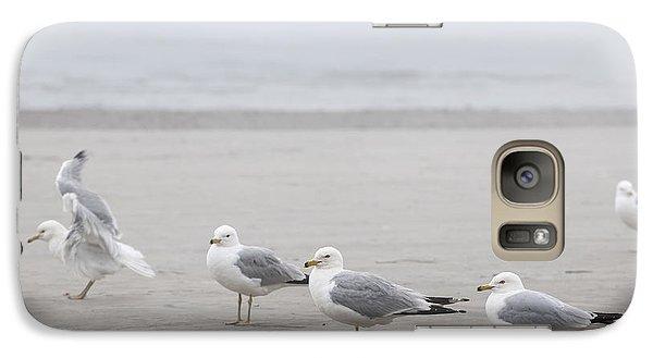 Seagulls On Foggy Beach Galaxy Case by Elena Elisseeva