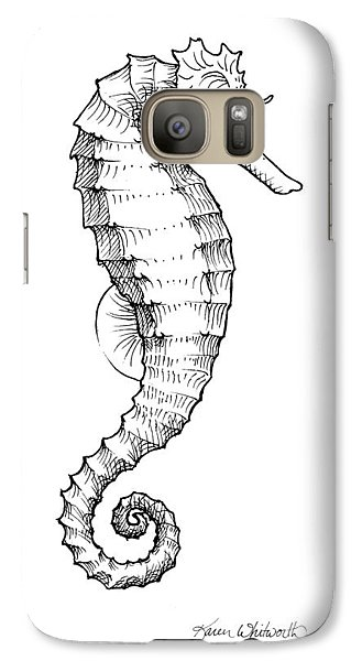 Galaxy Case featuring the drawing Seahorse Black And White Sketch by Karen Whitworth