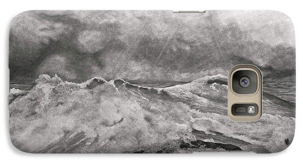 Galaxy Case featuring the drawing Seascape In Graphite by John Stuart Webbstock