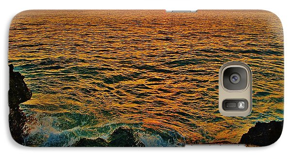 Galaxy Case featuring the photograph Seascape In Orange And Green by Craig Wood