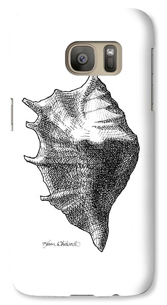 Galaxy Case featuring the drawing Seashell 1 - Nautical Beach Drawing by Karen Whitworth