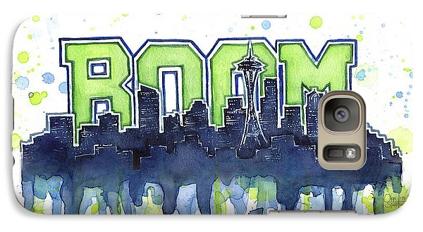 Seattle 12th Man Legion Of Boom Watercolor Galaxy Case by Olga Shvartsur