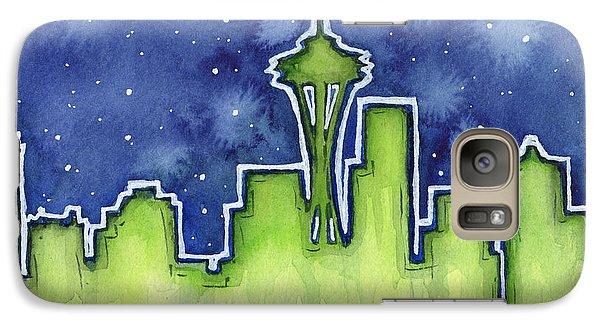 Seattle Night Sky Watercolor Galaxy Case by Olga Shvartsur