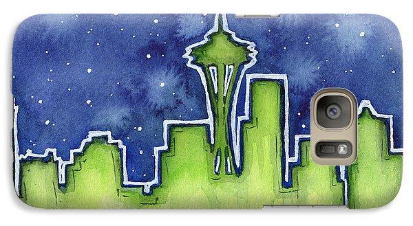 Seattle Night Sky Watercolor Galaxy S7 Case by Olga Shvartsur
