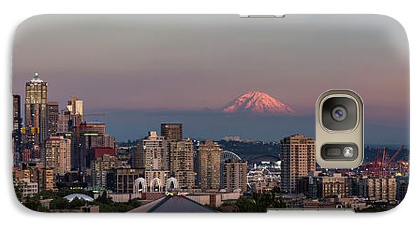 Galaxy Case featuring the photograph Seattle Skyline And Mt. Rainier Panoramic Hd by Adam Romanowicz