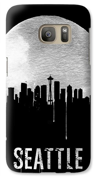 Seattle Skyline Black Galaxy Case by Naxart Studio