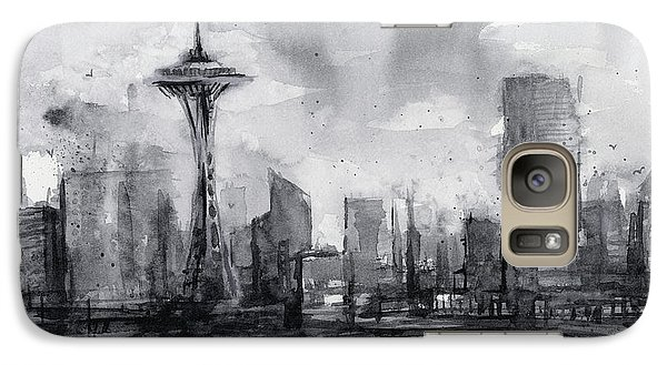 Seattle Skyline Painting Watercolor  Galaxy S7 Case by Olga Shvartsur