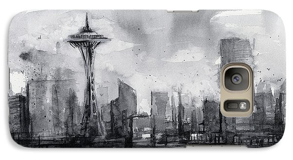 Seattle Skyline Painting Watercolor  Galaxy S7 Case