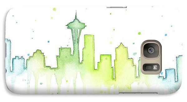 City Scenes Galaxy S7 Case - Seattle Skyline Watercolor  by Olga Shvartsur