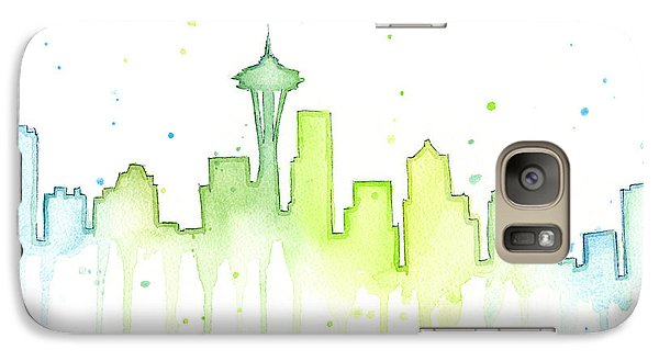 Seattle Skyline Watercolor  Galaxy S7 Case by Olga Shvartsur