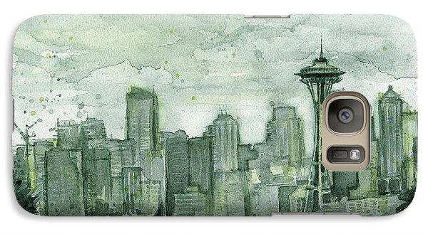City Scenes Galaxy S7 Case - Seattle Skyline Watercolor Space Needle by Olga Shvartsur