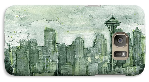 Seattle Skyline Watercolor Space Needle Galaxy S7 Case by Olga Shvartsur