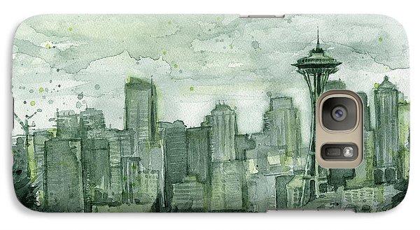 Seattle Skyline Watercolor Space Needle Galaxy Case by Olga Shvartsur