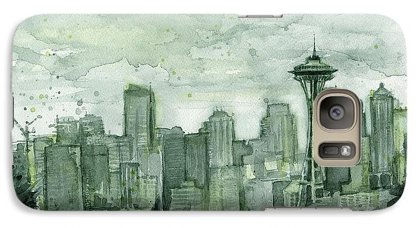 Seattle Skyline Watercolor Space Needle Galaxy S7 Case