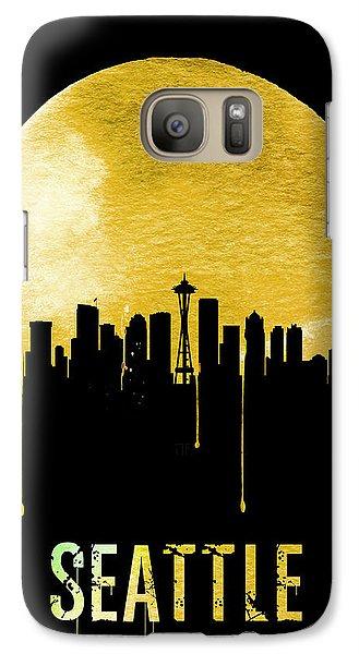 Seattle Skyline Yellow Galaxy Case by Naxart Studio