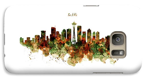 Galaxy Case featuring the mixed media Seattle Watercolor Skyline Poster by Marian Voicu