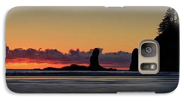 Galaxy Case featuring the photograph Second Beach Silhouettes by Dan Mihai
