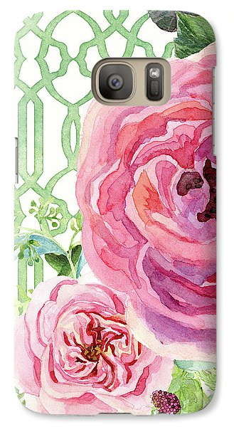 Galaxy Case featuring the painting Secret Garden 3 - Pink English Roses With Woodsy Fern, Wild Berries, Hops And Trellis by Audrey Jeanne Roberts