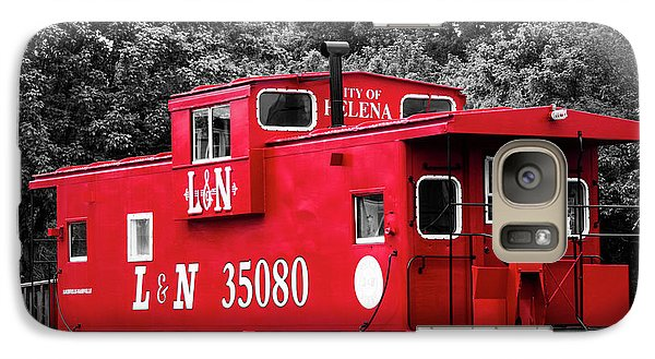 Galaxy Case featuring the photograph Selective Color Red Caboose by Parker Cunningham
