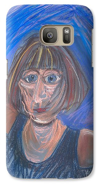 Galaxy Case featuring the pastel Selfie by Carolyn Weltman