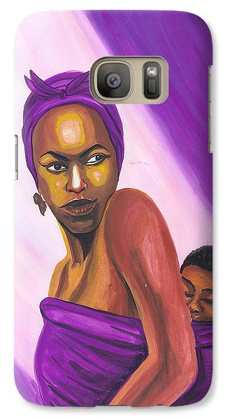 Galaxy Case featuring the painting Senegalese Woman by Emmanuel Baliyanga
