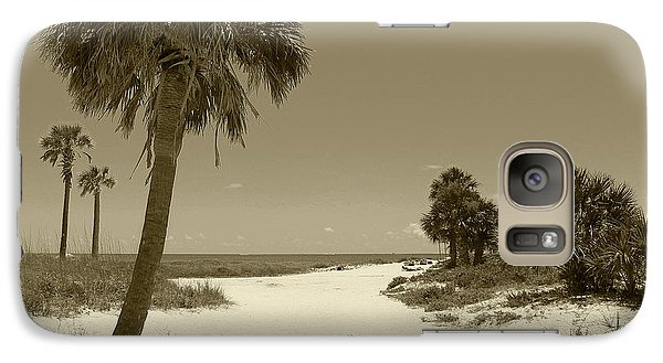 Galaxy Case featuring the photograph Sepia Beach by Jeanne Forsythe