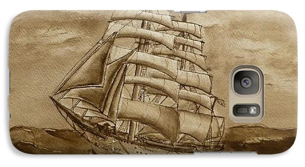 Galaxy Case featuring the painting Sepia Oceans Fury by Kelly Mills