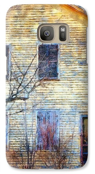 Galaxy Case featuring the photograph September's Gone - Yellow Farmhouse Windows by Janine Riley