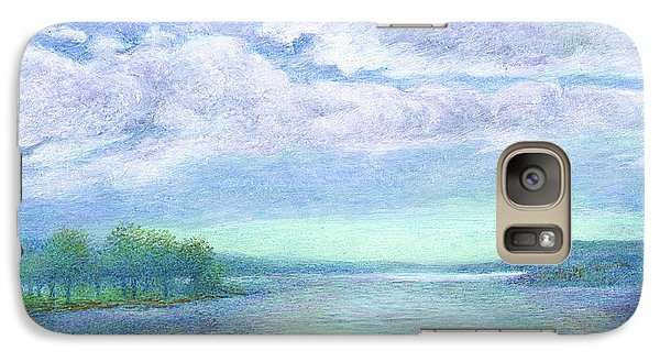 Galaxy Case featuring the painting Serenity Blue Lake by Judith Cheng