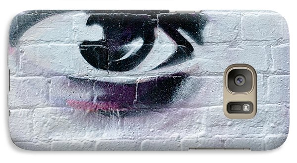 Galaxy Case featuring the painting Serious Graffiti Eye On The Wall by Yurix Sardinelly