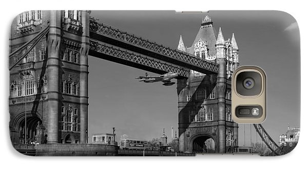 Galaxy Case featuring the photograph Seven Seconds - The Tower Bridge Hawker Hunter Incident Bw Versio by Gary Eason