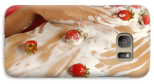 Sexy Nude Woman Body Covered With Cream And Strawberries Galaxy Case by Oleksiy Maksymenko