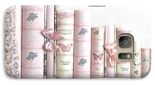 Galaxy Case featuring the photograph Shabby Chic Pink Books Collection - Paris Pink Books Art Prints Home Decor by Kathy Fornal