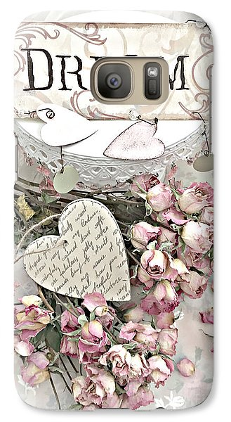 Galaxy Case featuring the photograph Shabby Chic Romantic Dream Valentine Roses - Romantic Dreamy Roses Valentine Hearts by Kathy Fornal