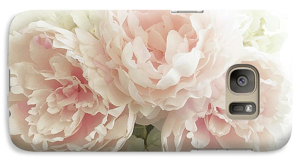 Galaxy Case featuring the photograph Shabby Chic Romantic Pastel Pink Peonies Floral Art - Pastel Peonies Home Decor by Kathy Fornal