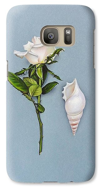 Galaxy Case featuring the drawing Shades Of White by Elena Kolotusha
