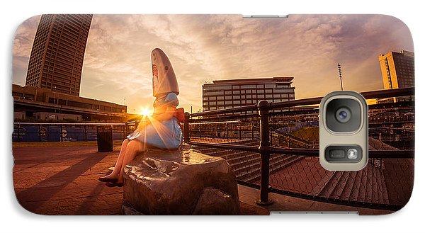 Galaxy Case featuring the photograph Shark Girl Dawn - Horizontal by Chris Bordeleau