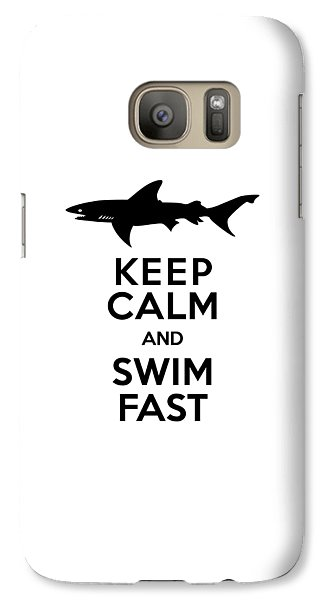 Sharks Keep Calm And Swim Fast Galaxy S7 Case by Antique Images