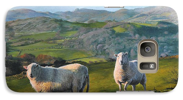 Galaxy Case featuring the painting Sheep At Rhug by Harry Robertson