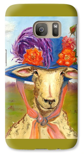 Galaxy Case featuring the painting Sheep In Fancy Hat by Susan Thomas